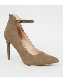 Khaki Faux Snake Strap High Cut Court Shoes by New Look