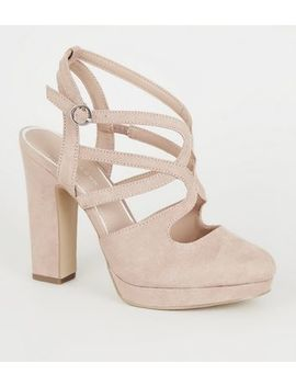 Nude Suedette Strappy Platform Block Heels by New Look