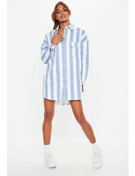 Blue Denim Stripe Shirt Dress by Missguided