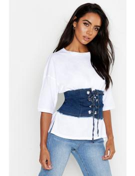 Lace Up Denim Corset by Boohoo
