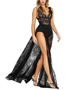 Meenew Women's Deep V Neck Sexy Lace See Through High Slit Long Maxi Dress by Meenew