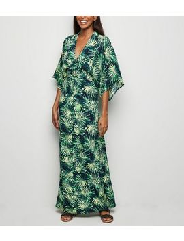 Blue Vanilla Green Tropical Leaf Kimono Dress by New Look