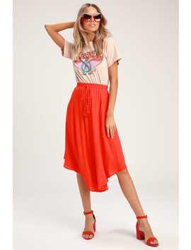 Regatta Red Tassel Midi Skirt by Lulus
