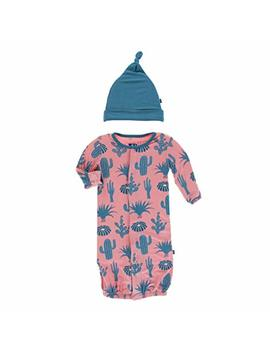 Kickee Pants Baby Boys' Print Layette Gown Converter & Knot Hat Set Prd Kplc746 Bdes by Kickee Pants