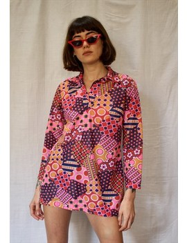 Psychedelic Pink 60s Mini Dress by Cor Vintage & Design