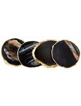 "Modern Agate Coasters With Gold Edges And Rubber Bumpers (3.5"" 4""). Set Of 4 Geode Stone Slices. Perfect Drink Holder For Any Glass Or Cup (Black) by Rocko Goods"