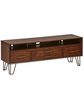 "Rivet Bowlyn Mid Century Modern Wood Media Table, 64"", Walnut by Rivet"