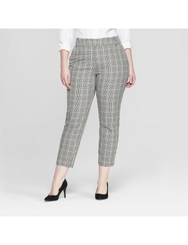 Women's Plus Size Plaid Comfort Waistband Plaid Ankle Pants   Ava & Viv Gray by Ava & Viv Gray