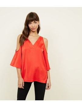 Red Bar Back Cold Shoulder Top by New Look