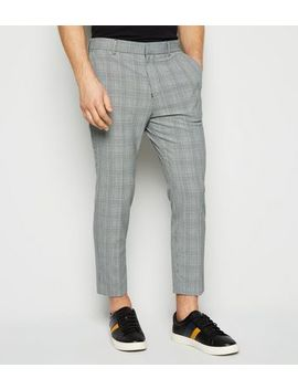 Light Grey Check Skinny Crop Trousers by New Look