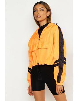 Overhead Hooded Stripe Detail Windbreaker by Boohoo