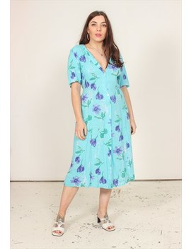 Vintage 90s Blue Midi Dress With Floral Print by Dirty Disco