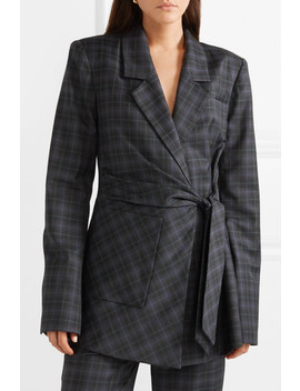 Marvel Oversized Checked Wool Blend Twill Wrap Blazer by Tibi