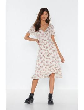 Expert In The Field Wrap Midi Dress by Nasty Gal