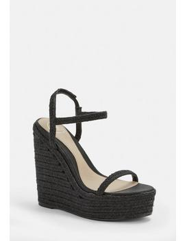 Black Two Strap Jute Wedges by Missguided
