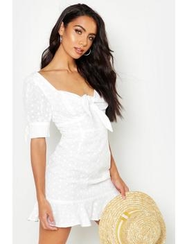 Knot Front Broderie Anglais Mini Dress by Boohoo