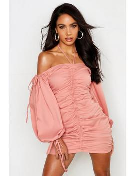 Rouched Front Volume Sleeve Mini Dress by Boohoo