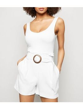 White Linen Look Buckle Shorts by New Look