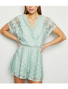 Light Green Wrap Front Lace Playsuit by New Look