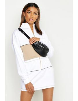 Zip Front Panelled Sweat & Mini Skirt Set by Boohoo