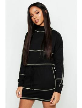 Contrast Stitch Cropped Sweat & Mini Skirt Set by Boohoo