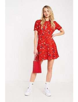 Uo Red Floral Print Mini Tea Dress by Urban Outfitters