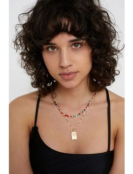 Bright Bead + Tag Necklace Set by Urban Outfitters