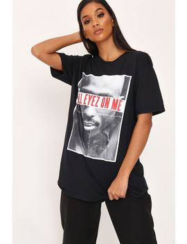 Black Tupac All Eyez Slogan T Shirt by I Saw It First