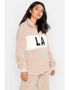 Colour Block Teddy Sweat by Boohoo