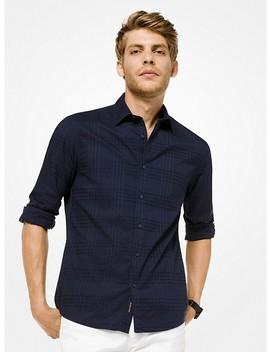 Slim Fit Plaid Cotton Shirt by Michael Kors Mens
