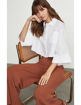 Cropped Button Front Shirt by Bcbgmaxazria