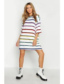 Stripe Rainbow T Shirt Dress by Boohoo