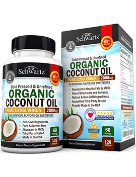 Organic Coconut Oil   Healthy Skin, Nails, Weight Loss, Hair Growth   Virgin, Cold Pressed, Unrefined Non Gmo   Rich In Mct Mcfa   Support Brain Function, Blood Pressure, Anti Aging – 120 Softgels by Bio Schwartz