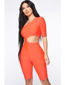 Gotta Feeling Biker Short Romper   Neon Orange by Fashion Nova