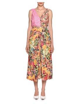 Sleeveless V Neck Mixed Print A Line Midi Dress by Marni