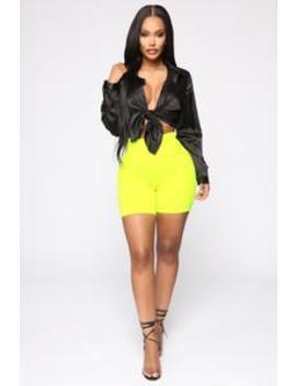 Still Don't Know Biker Short   Neon Yellow by Fashion Nova