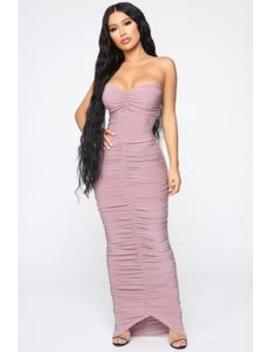 Alandra Ruched Maxi Dress   Mauve by Fashion Nova