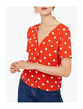 Warehouse Spot Print Top, Coral by Warehouse