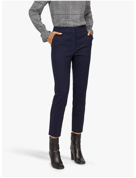 Warehouse Cotton Cigarette Trousers, Navy by Warehouse