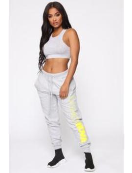 Stole Your Boyfriend's Fn Jogger   Heather Grey/Neon Yellow by Fashion Nova