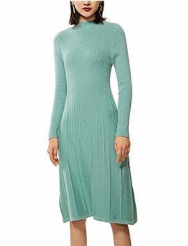Ran Rui Womens Winter Spring Dresses Sweater Dress Cashmere Long Sleeve Elegant Midi Dress by Ran Rui