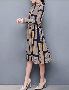 Womens Long Sleeve Chiffon Vintage Midi Dress by Pinkyee