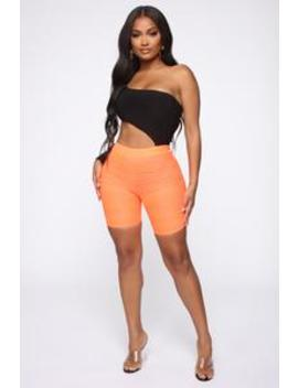 Looking Like A Snack Biker Shorts   Neon Coral by Fashion Nova