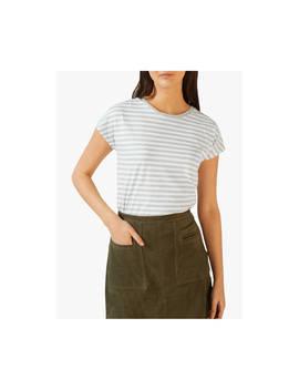 Jigsaw Relaxed Slub Cotton Striped T Shirt, Pale Grey by Jigsaw