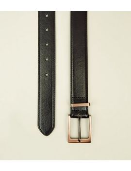 Black And Rose Gold Leather Look Belt by New Look
