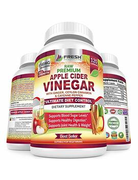 Organic Apple Cider Vinegar Pills Max 1740mg   100 Percents Natural & Raw With Ceylon Cinnamon, Ginger & Cayenne Pepper   Ideal For Healthy Blood Sugar, Detox, Weight Loss & Digestion   120 Vegan Capsules by Fresh Healthcare