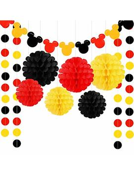Threemart Colorful Party Supplies Yellow Black Red For Mickey Mouse Baby Shower Birthday Decorations Garland by Threemart