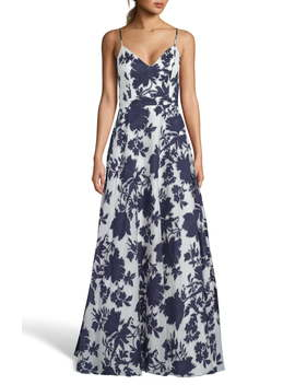 Beaded Floral Burnout Organza Evening Dress by Xscape