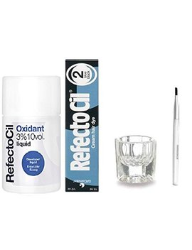 Refectocil Color Kit  Blue Black Cream Hair Dye 1/2oz + Liquid Oxidant 3 Percents 3.38oz + Mixing Brush +  Mixing Dish by Amazon