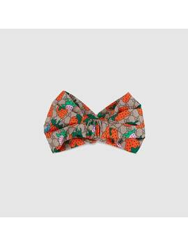 Gg Headband With Gucci Strawberry Print by Gucci
